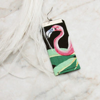 Kitsch Vintage Fabric Earrings - Tropical Palm Pink Flamingo Handsewn