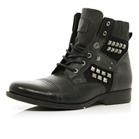 BLACK STUDDED MILITARY BOOTS