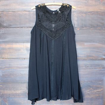 boho crochet lace dress - black
