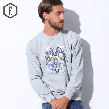 Men's Fashion Winter Print Long Sleeve Round-neck Hoodies [8822203651]