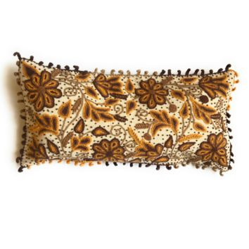 Handmade Large, Wool Lumbar Pillow with Alpaca Floral Pattern Stitchin. Made In Peru.