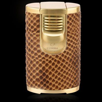 COHIBA Creative Design Snakeskin pattern Windproof Brand New Fove Torch Jet Flame Cigar Cigarette Lighter