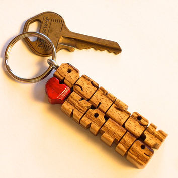 Zebrawood - Love Keychain - Any Names Carved to Order in the USA