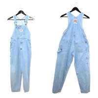 90s light wash denim overalls 1990s grunge tapered pale jean dungarees small