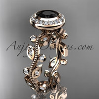 14k rose gold diamond leaf and vine wedding ring, engagement ring with a Black Diamond center stone ADLR212