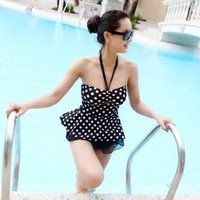 Swimsuit Swimwear swimsuits ladies gathered one-piece dress-cute small chest covered belly slim swimsuit - DinoDirect.com