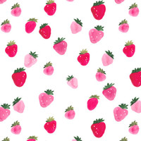 Strawberry Fabric by the Yard Knit Strawberries Quilting Fabric Jersey Organic Cotton Knit Summer Fruit Minky Fabric 4603369