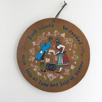 Vintage Wooden Dutch Folk Art Wooden Wall Hanging, Lots of Love and Butter Wooden Folk Art Wall Hanging