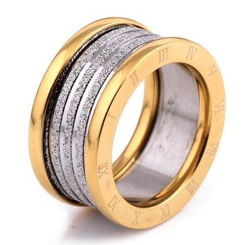 Two Color Vintage Antique Retro Stainless steel Rings For Women Men Jewelry Engagement Wedding Rings