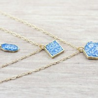 Layering Set of 3 Necklaces Gold Plate CZ