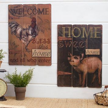 Farmhouse Wall Art Sign Rooster Welcome Home or Pig Home Sweet Home Rustic