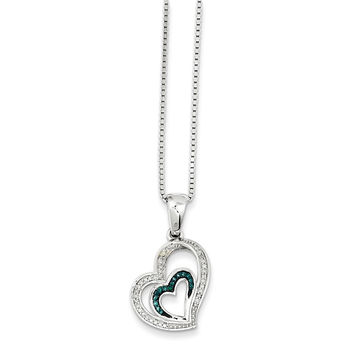 925 Rhodium Flashed Silver Diamond and Blue Diamond Double Heart Pendant Necklace