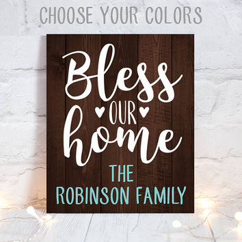 BLESS OUR HOME - Fall Wood Sign - Wood Quote Sign - Farmhouse Sign - Thanksgiving Family Name Sign - Personalized Home Decor-Canvas or Print