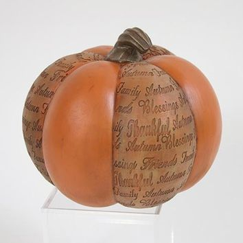 Ceramic Pumpkin with Words of Thanksgiving