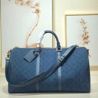 Kuyou Lv Louis Vuitton Gb2974 M44642 Keepall Bandouli¨¨re 50 Denim Blue Soft Travel Bag 50.0x29.0x23.0cm