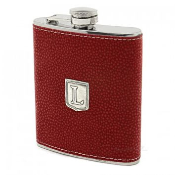 Pewter Monogrammed Burgundy Hip Flask