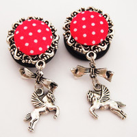 Glamsquared — Polka Dot Pegasus Dangle Plugs