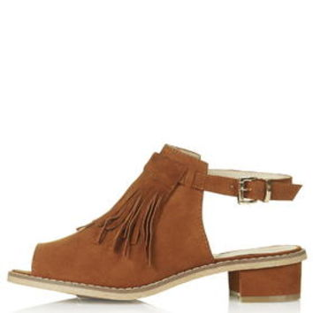 BLINDER Fringe Shoe Boots - Tan