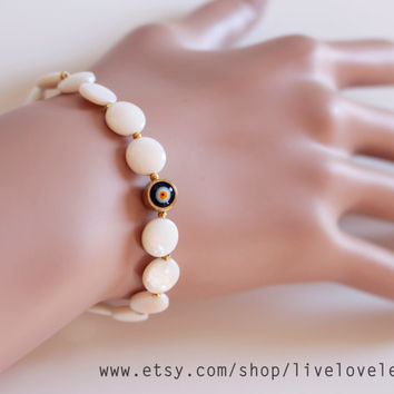 Mother of pearl evil eye bracelet, Flat coin pearls & navy blue eye charm arm candy stackable unique trendy jewelry gift idea for Christmas