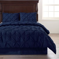 Emerson NAVY BLUE Queen Size Bed Cover 4pc Pinch Pleat Puckering Comforter Set