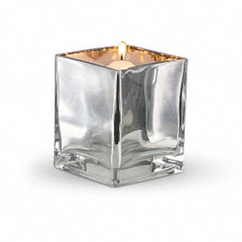 "Teleflora Silver Mirror Glass Cube 4"" decorative flower vase candle holder"