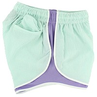 Shorties Shorts in Mint Seersucker with Lavender Panel by Lauren James