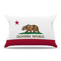 "Bruce Stanfield ""California State Flag"" Red White Pillow Case"