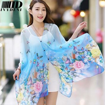 2017 Fashion Pareos For Women Soft Print Flowers Chiffon Silk Beach Wraps Sarongs Summer Swimwear Cover Up Female Poncho Peony