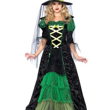 DCCKLP2 2PC.Storybook Witch,dress with tiered glitter tulle,hat w/veil in BLACK/GREEN