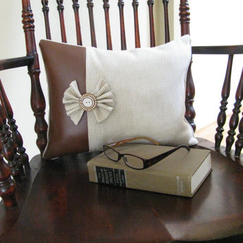 Decorative Pillow  Vegan Leather  Tan Woven Fabric   Flower Button  Home Decor Accents   Accent Pillow  Brown Tan Decor