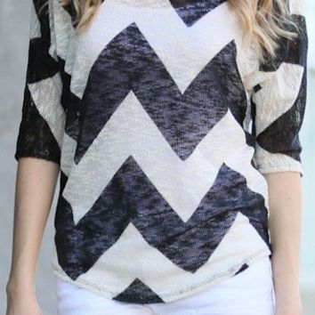 Cami Chevron Print Open Weave 3/4 Sleeve Sweater