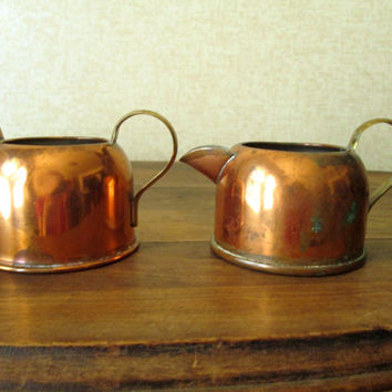 Copper Cream Sugar Set vintage 70s creamer pitcher cottage farmhouse rustic cabin decor Coppercraft Guild housewarming hostess gift