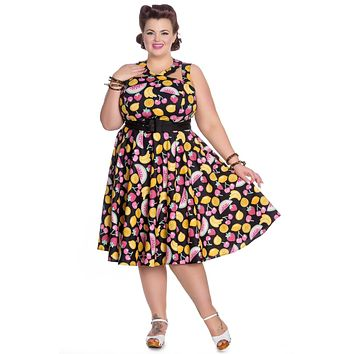 Hell Bunny Cocktail Fruit Party Strawberry Cherry Lemon Fruit Print Swing Party Dress