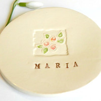 Personalized Ceramic Jewelry Dish Rose Plate Bridal Pottery Gift Custom ceramic