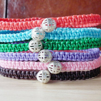 Friendship bracelet - waxed cord square knot bracelet with silver plated open filigree bead sliding encolsure - gift under 5
