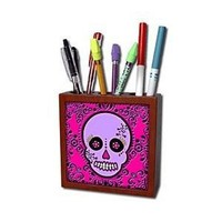 3dRose LLC Day of The Dead Skull Dia De Los Muertos Sugar Skull Purple Pink Black Scroll Design 5-Inch Tile Pen Holder