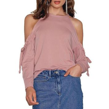 Autumn Dusty Pink Ruffle Frill Cold Shoulder Top Slim Fit Long Sleeve T-shirt Casual O-Neck Tees Tops
