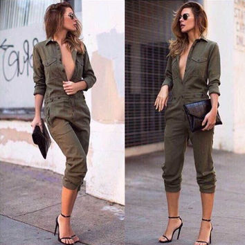 Army Green Half Sleeve Midi Jumpsuit