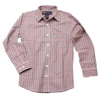 Two Tone Long Sleeve Gingham Shirt in AL Red