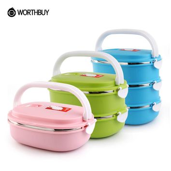 WORTHBUY Portable Food Container Storage Stainless Steel Bento Box Thermal Children Kids Lunch Boxs Picnic School Tableware Set