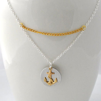 Anchor necklace nautical necklace silver anchor by myjewelrystory