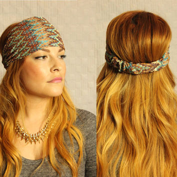 Chevron Wide Turban Headband womens hair accessories hairwrap free shipping, gift for her