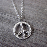 Men's Necklace - Men's Peace Sign Necklace - Men's Silver Necklace - Mens Jewelry - Necklaces For Men - Jewelry For Men - Gift for Him