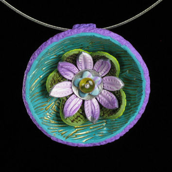 Lotus Necklace - Statement Necklace -  Polymer Clay Jewelry - Clay Pendant -  Art Jewelry -  Clay Jewelry  - Mindfulness Jewelry