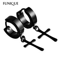FUNIQUE Circle Round cross earrings for men Stainless Steel Pendant Stud Earrings Punk Rock Style