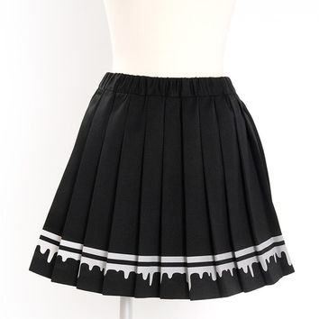 Listen Flavor Melty Lined Pleated Skirt (Black)