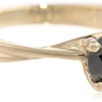 10k Yellow Gold Black Diamond Solitaire Ring (1 cttw)