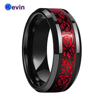 Black Mens Wedding Ring Dragon Ring Tungsten Carbide Ring With Red Opal And Black Dragon Inlay