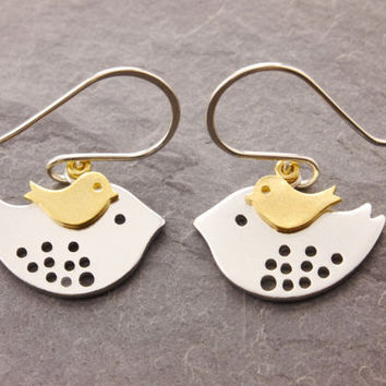 Mom and Daughter Earring, mothers jewelry, mother daughter, silver bird earring, mother earring, love birds, baby bird earring, ER