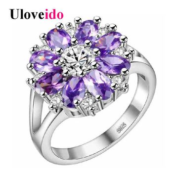 Uloveido 15% Off Wedding Rings for Women Purple Flower Ring Female Costume Jewelry Silver Color Bague Bijouterie Ringen J676